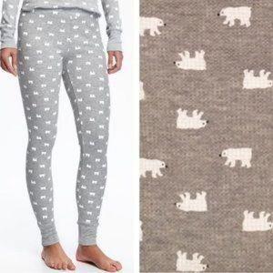 Waffle-Knit PJ Leggings with Polar Bear Print